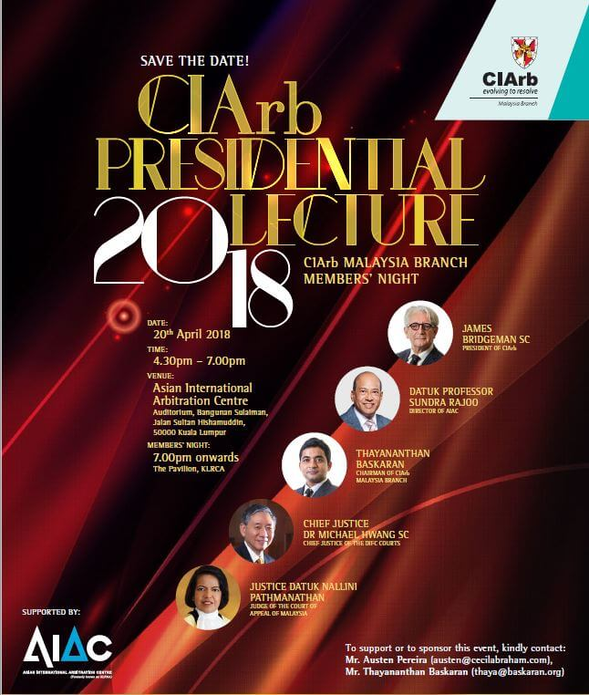 CIArb Presidential Lecture Malaysia Arbitration
